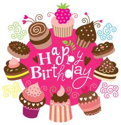 Happy Birthday Clipart with Cakes Image                                                                                                                                                     Más