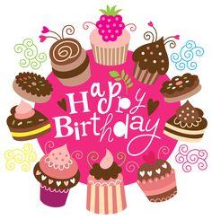 Happy Birthday Clipart with Cakes Image                                                                                                                                                     Más