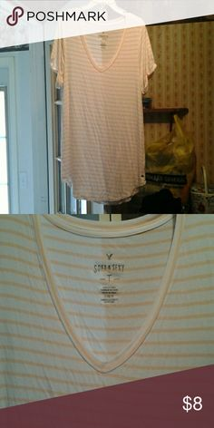 Ae top Brand new. Very silky. Peach and white Tops Tees - Short Sleeve