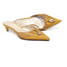 Pre-owned Dior Mustard Leather Mule Kitten Heels