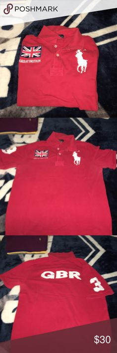 Polo Ralph Lauren Great Britain red Polo. Size Xl (kids 18-20) or Men's Medium. Red Great Britain Polo, Large White Pony w/ 3 on the sleeve. Worn a number of times. Great condition. Polo by Ralph Lauren Shirts Polos
