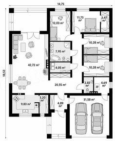 Rzut parteru projektu Decyma 9 Building A House, Building Ideas, Planer, House Plans, Sweet Home, Floor Plans, House Design, How To Plan, Bungalows