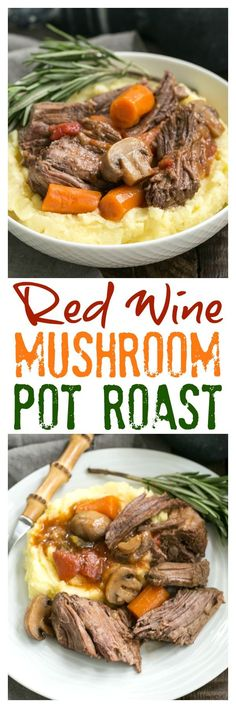 Pot Roast with Mushrooms, Tomatoes & Red Wine | This is one unforgettable pot roast with an amazing depth of flavor! @lizzydo