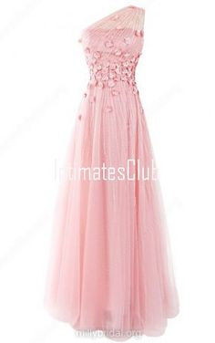 One Shoulder A Line Tulle Floor Length Beading Pink Long Prom Dress