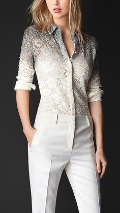 Stone blue/white Dégradé Lace Shirt - Burberry Prorsum