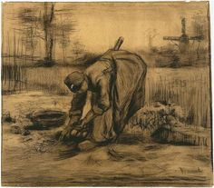 Vincent van Gogh Drawing, Black chalk, grey wash, on wove paper Nuenen: August, 1885 Kröller-Müller Museum Otterlo, The Netherlands, Europe F: 1273, JH: 909 Image Only - Van Gogh: Peasant Woman Lifting Potatoes