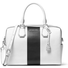 Michael Michael Kors Optic Whiteblack Kors Studio Center Stripe Mercer... ($328) ❤ liked on Polyvore featuring bags, luggage and purses