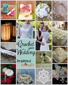 Crochet Wedding Patterns links to free patterns for gifts, bridal accessories and recetion decor on Moogly at http://www.mooglyblog.com/free-wedding-crochet-patterns/#more-6257