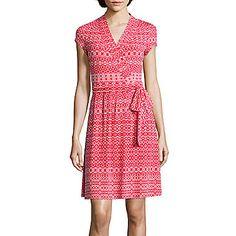 jcp | Liz Claiborne® Cap-Sleeve Wrap Dress