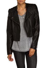 hello moto pu biker jacket, BLACK
