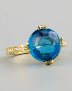 Jelly Bean Blue Topaz Ring, Yellow Gold by Frederic Sage at Neiman Marcus.