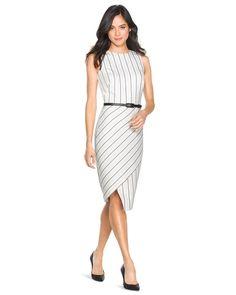 White House | Black Market Striped Asymmetric Sheath Dress #whbm