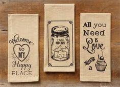 *Kitchen Love, Love & Cupcake, Happy Place Tea Towels