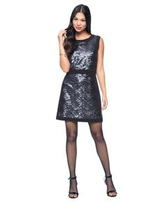 """Wavy Sequence Shift Dress in Midnight Wavy Sequence - Fitted sheath dress with sequin detail. Round neckline. Sleeveless. Trim at waist. A-line hem. Hidden zipper closure at back. Measures 35"""" from shoulder to hem 100% polyester"""