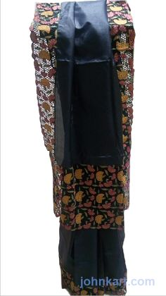 Saree - Black Color with Side cut work