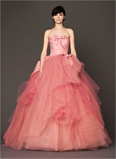 Love the upper part of this Vera Wang 2014 Pink Wedding Gown