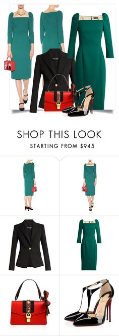 """""""Green Dress Red Bag"""" by danewhite ❤ liked on Polyvore featuring Dolce&Gabbana, Balmain, Gucci and Christian Louboutin"""