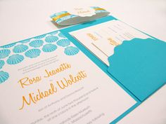 Wedding Invitation Pocketfold  Suite Sea by JutingDesignStudio
