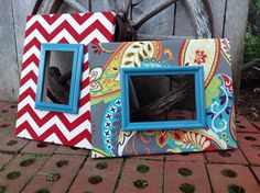 Fabric Covered Picture Frame Set of 2 Paisley by TheRedWoodBarn, $80.00