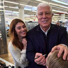 Avon Global Celebrity Makeup Artist Lauren Andersen getting tricks from Dennis Basso at  the #NYFW Makeup Test