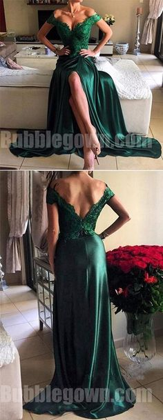 Off the Shoulder Green Lace Top Side Split Sexy Long Evening Prom Dress, BGP054 The dress is fully lined, 4 bones in the bodice, chest pad in the bust, lace up back or zipper back are all available. This dress could be custom made, there are no extra cost to do custom size and color, please contact us if you need fabric swatch. Description of dress 1, Material: satin, lace, elastic silk like satin, pongee. 2, Color: picture color or other colors, there are many colors available, please…