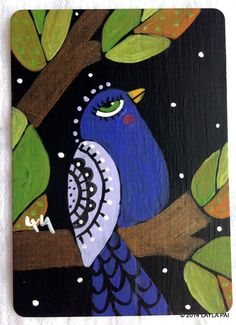 Abstract Folk Art Purple Bird ORIGINAL ACEO Painting Landscape Tree Leaves Night #Abstract