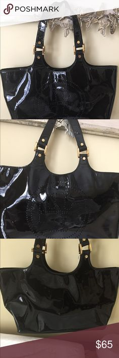 "Tory Burch Black Patent Leather Tote Tory Burch Black Patent Leather Tote with gold hardware and large emblem on front and zip pocket inside  Measures 10"" x 16""  Great Condition.  Only signs of wear on strap as shown in pics Tory Burch Bags Totes"