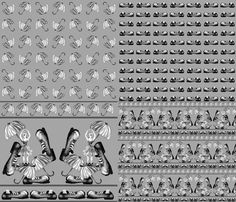 CLOWNY BALLERINA 4 in One Yard Black and White  fabric by paysmage on Spoonflower - custom fabric