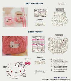 Free crochet diagram for Hello kitty bag Crochet Diy, Crochet Gratis, Crochet Amigurumi, Crochet Motifs, Crochet Diagram, Crochet Chart, Love Crochet, Crochet Patterns, Bag Patterns