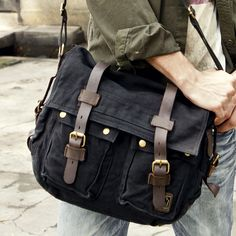 Product Description * This military style canvas messenger bag for men and women. * High-End Pre-washed Canvas Bags with leather straps. * Dual leather straps with adjustment buckles, antique finish b