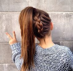 French braided ponytail- Upside down