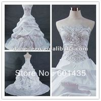 Freeshipping! WR2138 Newest Embroidery Beaded Satin Ball Wedding Dress 2014