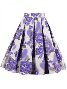 Inverted Pleat Floral Printed Flared Midi Skirt   WithChic
