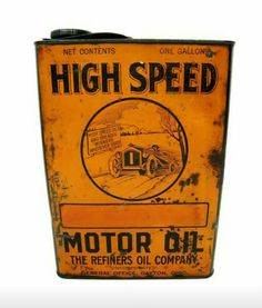 Rare 1-Gallon High Speed Motor Oil Can - Refiners Oil Company