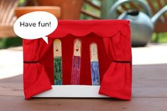 Popsicle Stick Puppets and Mini Theater - perfect after popsicles in the back yard! Popsicle Stick Crafts, Popsicle Sticks, Craft Stick Crafts, Crafts To Do, Diy Crafts For Kids, Craft Sticks, Craft Activities For Kids, Craft Ideas, Library Activities
