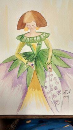 """Puedes usar """"acuarelas' (watercolors) para pintar una Menina similar a esta. Al final toma una foto digital de tu imagen e imprimela. Tráela a la clase y haz una presentación de 2 minutos incluyendo transiciones. Tema: El concepto de la belleza. (tema del AP) M. Melara"""