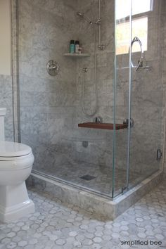designer marble bathroom with steam shower // cristin priest of simplified bee #bathrooms