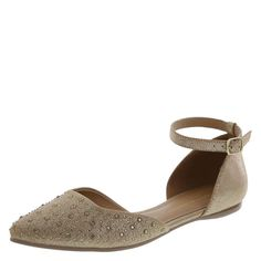 This two-piece flat from designer Christian Siriano features a shimmery nova suede upper with matching stones on the toe, ankle cuff with adjustable sling, soft lining, padded insole, and a durable outsole. Manmade materials.