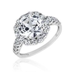 This adorable sterling silver ring features a round created white sapphire that is surrounded by round created white sapphires. Round created white sapphires also adorn the shoulders of this ring. Ring is at the top and at the bottom. Gold Jewelry, Fine Jewelry, Ring Watch, White Sapphire, Fashion Rings, Jewelry Stores, Wedding Bands, Sterling Silver Rings, Bling