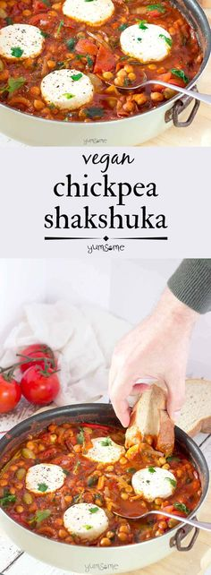 My smoky, spicy vegan chickpea shakshuka is ready in 30 mins, perfect for brunch or supper, and is chock-full of vitamins, protein, and fibre. | yumsome.com
