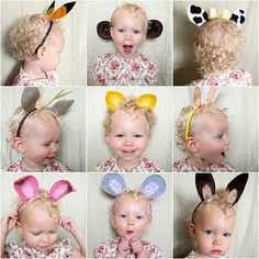 So simple: headbands +felt = fun animal ears for imaginary playtime :) Take it up a notch by using faux fur trims or a little stuffing. You could also use only one headband and make the ears interchangeable. The possibilities are endless! TOO CUTE!