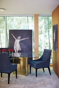 Sheffield Furniture & Interiors - PA, MD, VA #diningroom #denimvibes #wallofwindows #art