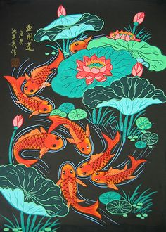 Chinese folk art paintings - Fish Crowd