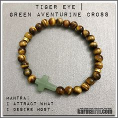 Green Aventurine is known as the good luck stone.  Green Aventurine comforts, harmonizes, protects the heart, and can help attract love later in life. It is one of the premiere stones to attract luck, abundance and success. ....Bracelet | Mens Womens | beaded yoga mala charm. karma arm stacks. Green aventurine Tiger eye. #fertility