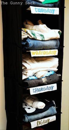 Wardrobe organizer- plan out kids clothes on Sunday for the rest of the week!