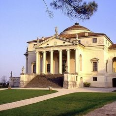 La Rotunda outside Vicenza, northern Italy - This Renaissance villa, inspired by the Pantheon in Rome, was designed by Andrea Palladio. The building features four grand porticos supported by ionic columns. Statues of classical deities flank the house on all sides. The building, once a residence, is now designated a UNESCO World Heritage Site and open to the public.