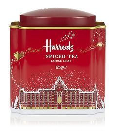 Harrods' Spiced Tea tea tin, red with drawing of the historic London department store decorated with Christmas lights, Santa Claus sleigh flying overhead, c. 2010s, UK