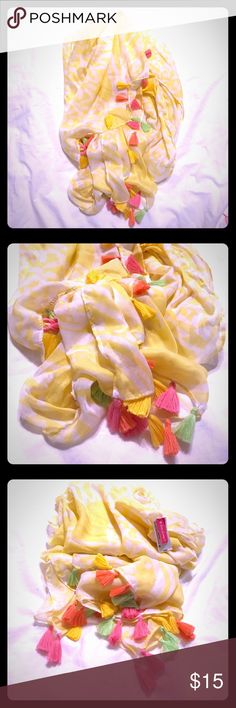 Lilly Pulitzer @ Target Yellow Pashmina Scarf- NEW Super cute Lilly Pulitzer by Target Pashmina Scarf - Yellow & White w/ Pink, Lime Green & Coral Tassels all across the bottom - New, never worn!  This is a very large pashmina style scarf - SUPER SOFT FABRIC - would look great worn as a scarf, coverup or sarong at the beach/pool this summer!  Lilly Pulitzer definitely has her following of it girls loving her fashion, especially the collab she did with Target.  Super cute summer steal! Lilly…