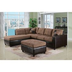 Milano Reversible Sectional Sofa in Chocolate Easy Rider and Espresso PU - Overstock™ Shopping - Big Discounts on Sectional Sofas