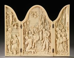"A French Carved Ivory Triptych, 'The Execution of Joan of Arc,"" Century. Today's Man, Wooden Statues, Joan Of Arc, Triptych, Bookbinding, Sadie, Wood Crafts, 19th Century, Bones"